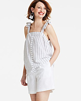 Grey/White Linen Mix Tie Detail Cami