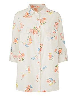 White Print Petite Dobby Shirt