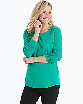 Green Long Sleeve Cotton Slub Top