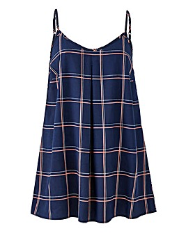 Navy Check Printed Strappy Cami