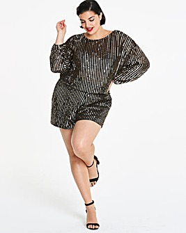 Black/Gold Long Sleeve Sequin Top