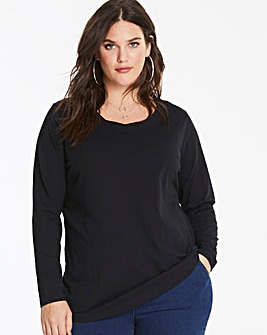 Black Long Sleeve Cotton Slub Top