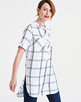 Ivory Check Short Sleeve Longline Shirt