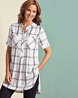 Ivory Check Short Sleeve Longline Shirt