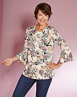 Nude Floral 3/4 Fluted Sleeve Blouse