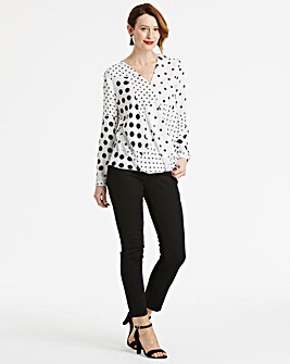 Ivory Spot Long Sleeve Wrap Blouse