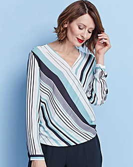 Green Stripe Long Sleeve Wrap Blouse