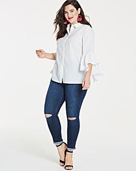 White Dramatic Sleeve Shirt