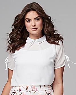 Ivory Jewelled Collar Shirt