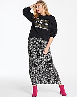 Spot Stretch Jersey Maxi Tube Skirt