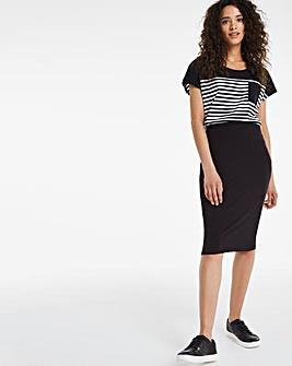 Stretch Jersey Midi Tube Skirt