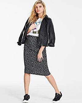 Spot Stretch Jersey Midi Tube Skirt