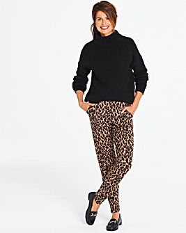 Tall Black Animal Print Tapered Trouser