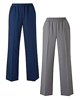 Pack of 2 Workwear Wide Leg Trousers Regular