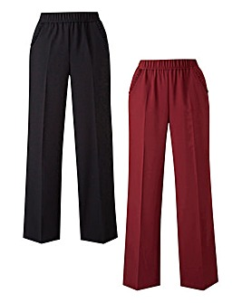Pack of 2 Work Wide Leg Trousers Regular