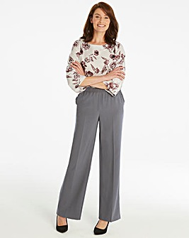Basic Grey Wide Leg Workwear Trousers