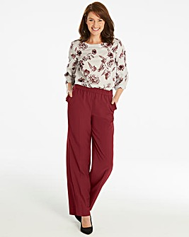 Basic Oxblood Wide Leg Workwear Trousers