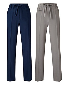 Pack of 2 Straight Leg Trousers Regular