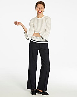 Linen Rich Wide Leg Trousers Reg