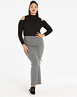 Ruched Jersey Split Front Maxi Skirt
