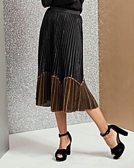 Sunray Pleat Colour Block Midi Skirt