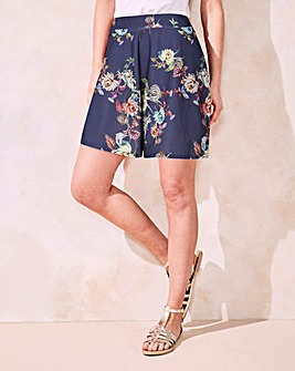 Navy Floral Print Crepe Stretch Shorts