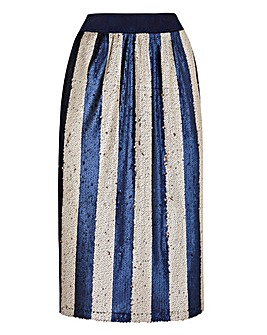 Striped Sequin Pencil Skirt
