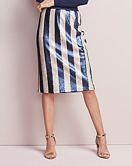 Striped Sequinned Pencil Skirt
