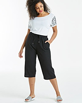 Essential Easy Care Linen Mix Crop Trousers