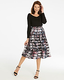 Floral Stripe Print Prom Skirt