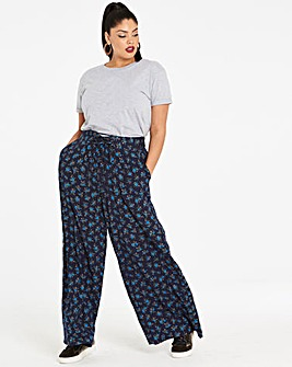Print Wide Leg Lace Up Waist Trousers