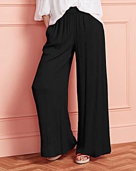 Crinkled Shirred Waist Wide Trousers Regular