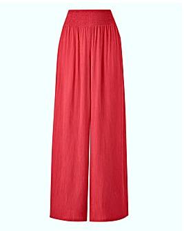 Crinkle Shirred Waist Wide Trousers