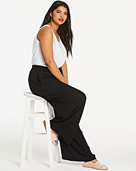 Crinkled Shirred Waist Wide Trousers Regular