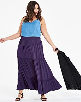 Crinkled Shirred Waist Maxi Skirt
