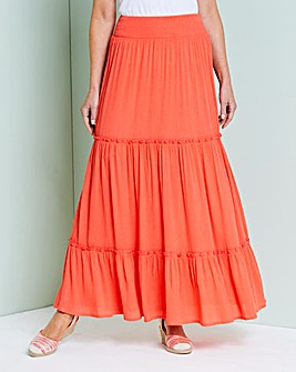 Crinkle Shirred Waist Maxi Skirt