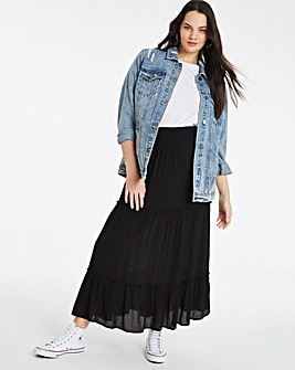 Crinkled Shirred Waist Maxi Skirt