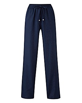 Petite Essential Easy Care Linen Mix Straight Leg Trousers