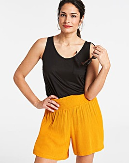 Crinkle Shirred Waist Shorts