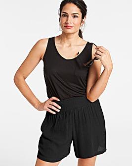 Crinkle Shirred Waist Shorts