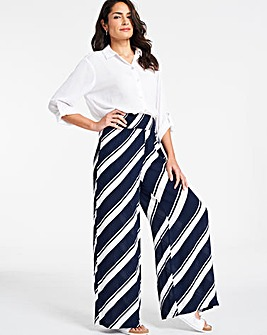 Stripe Crinkle Shirred Waist Wide Trs