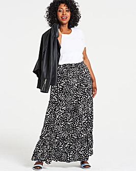 Spot Crinkle Shirred Waist Maxi Skirt