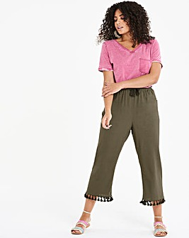 Linen Rich Wide Crop Tassel TrimTrousers