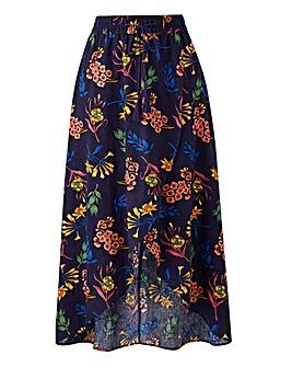Navy Floral Linen Rich Maxi Skirt