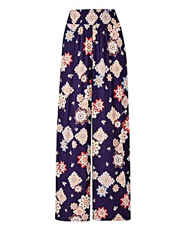Floral Print Crinkle Waist Trousers