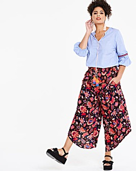 Black Floral Crinkle Shirred Culottes