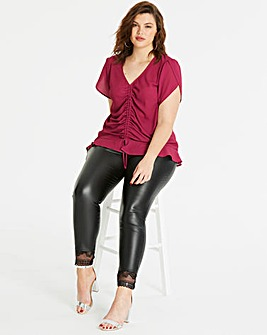 PU Lace Trim Leggings