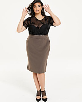 Paperbag Waist Smart Tailored Skirt