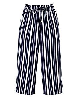 Petite Stripe Linen Mix Cropped Trousers