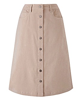 Petite Babycord Button Through A Line Skirt